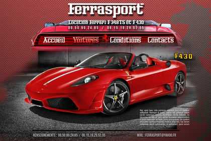 Site internet de location de Ferrari sur route
