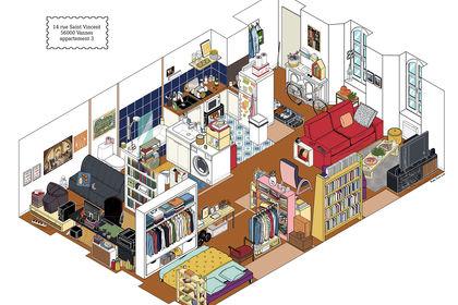 Décor d'appartement en vue isométrique