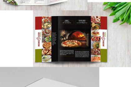 Boîte de pizza, menu et logo design