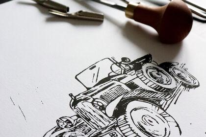 Linogravure Citroen