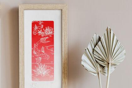 Linogravure inspiration Japon