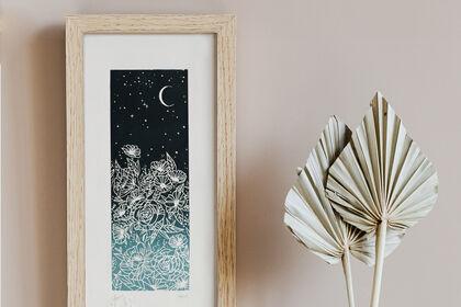Linogravure - Fleurs de nuit