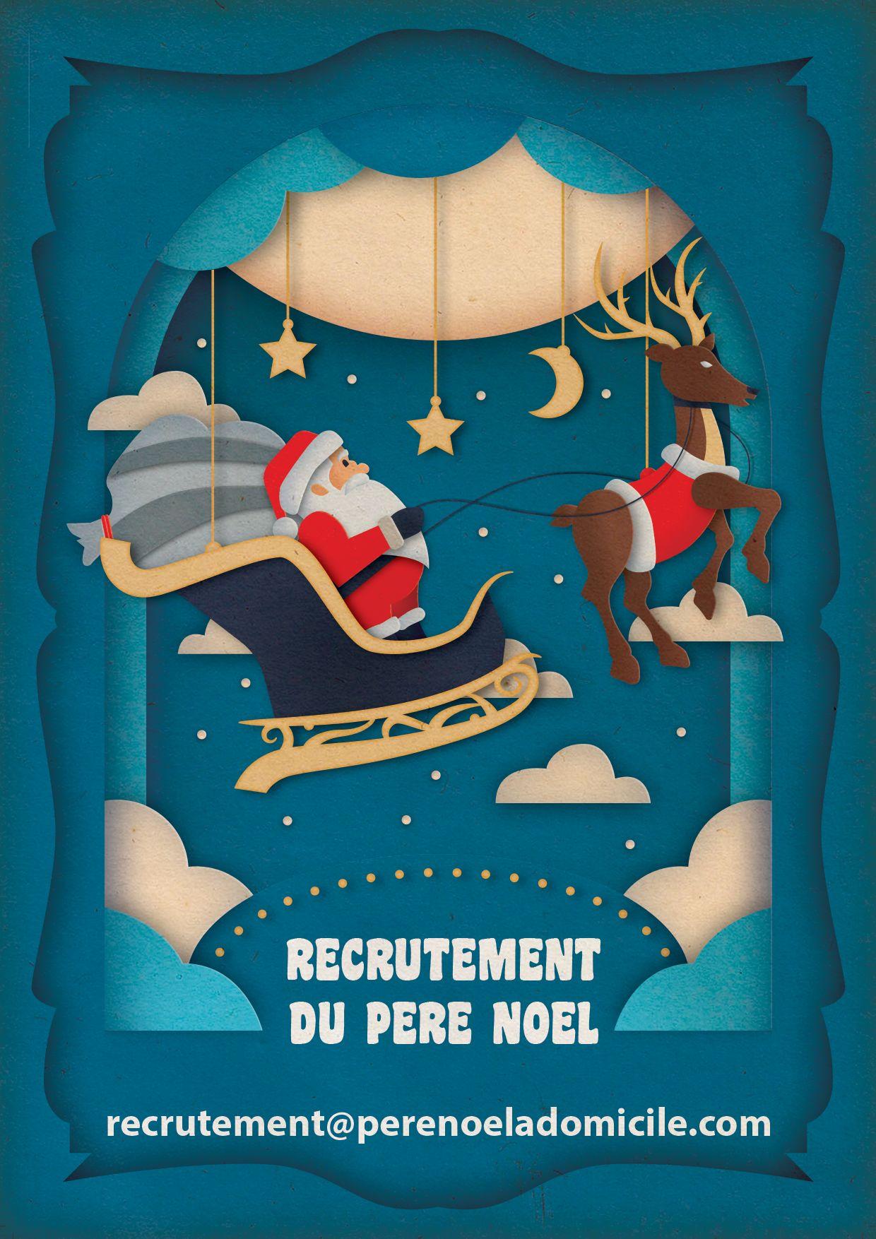 Flyer de recrutement - Père Noël à Domicile