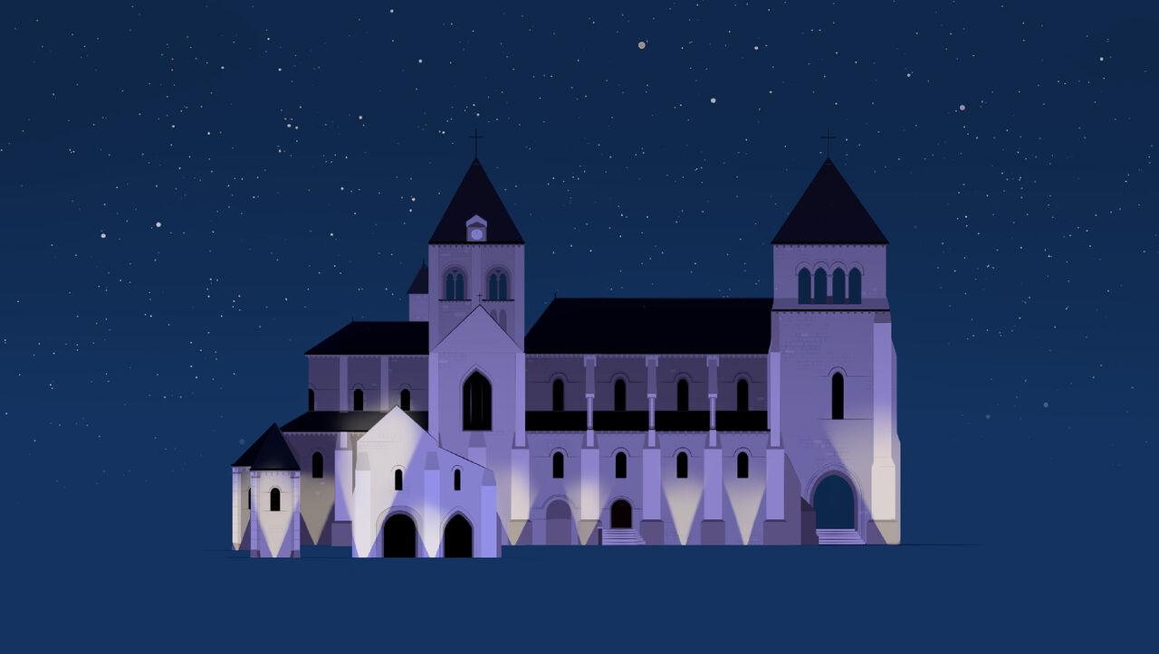 Illustration - Collégiale de nuit