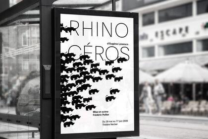 Affiche pour pièce de théâtre Rhinocéros