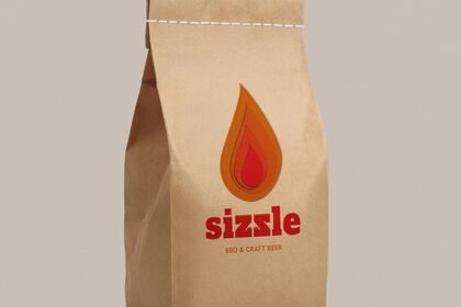 Mockup sac en papier logo flamme