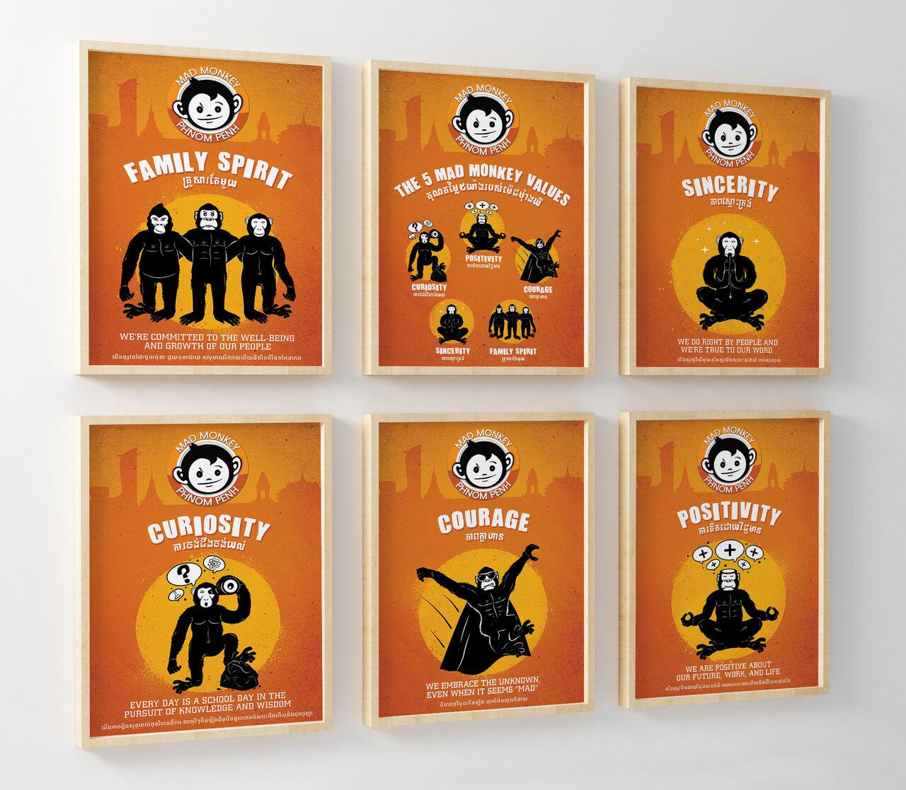 """Affiches """"Les 5 valeurs"""" de Mad Monkey"""