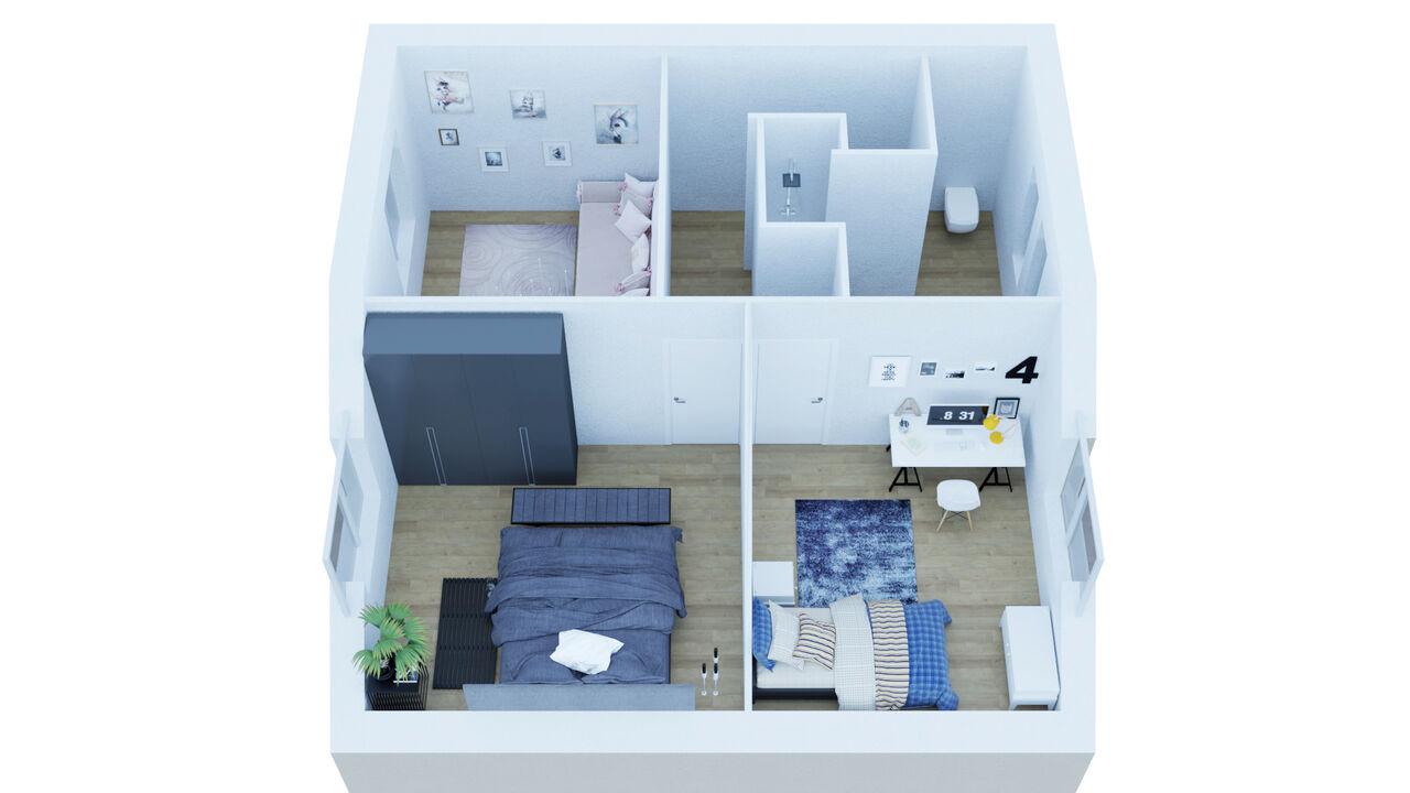 3D Réalisation, découpage, interieur; 4 Cottages