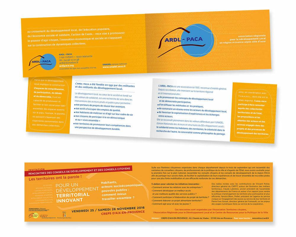 Plaquette 2 volets et invitation pour l'ARDL-PACA