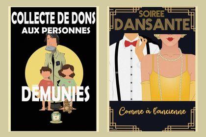 """Illustration """"Don aux démunies"""" """"Soirée Dansante"""""""
