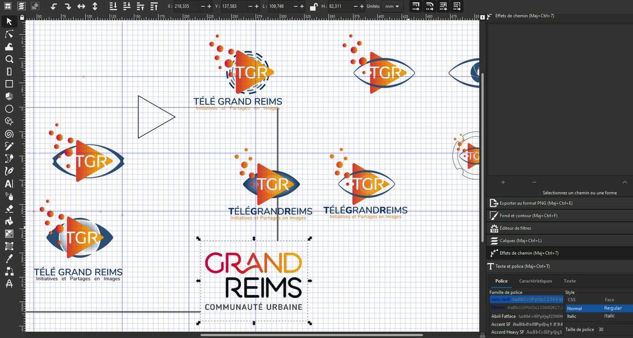 Planche de recherche logo TGR