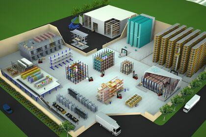 Illustration Gamme produit étagères industrielles