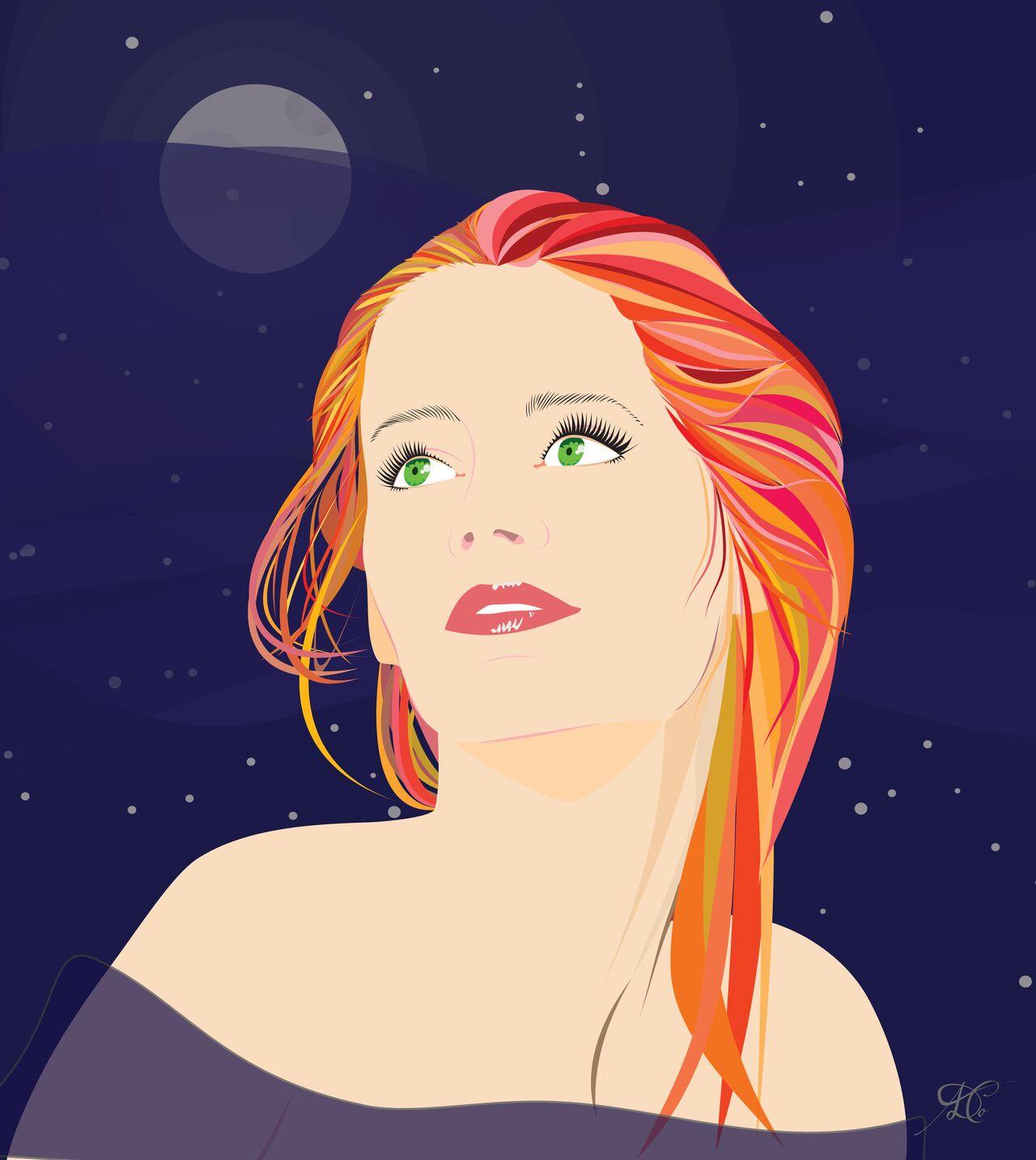 Femme rousse au clair de lune
