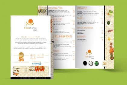 Création menu charte graphique yumi sushi Cannes