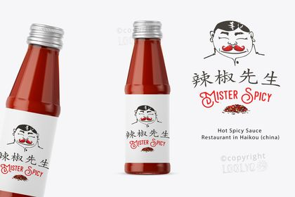 """Mister Spicy """"étiquette sauce épicée chinoise"""