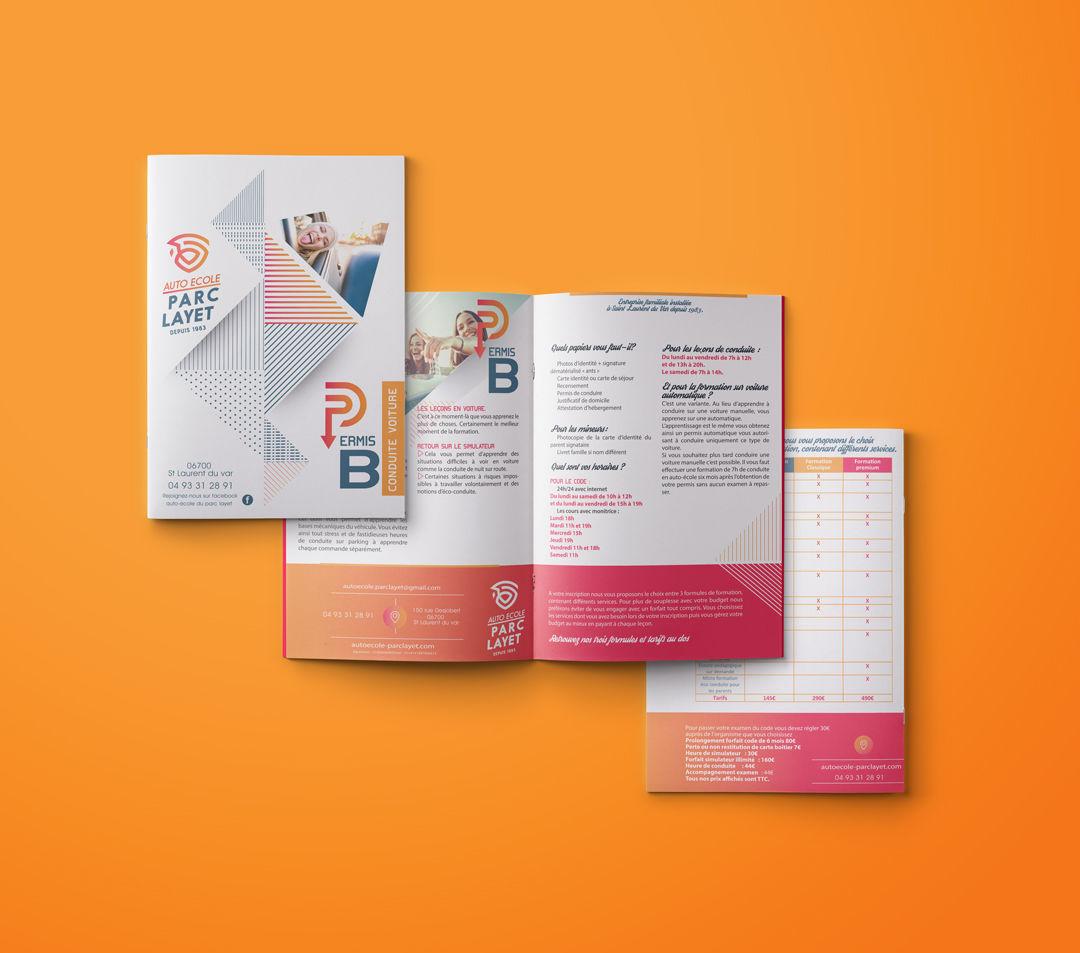 Création brochure pour auto-école st-laurent-var