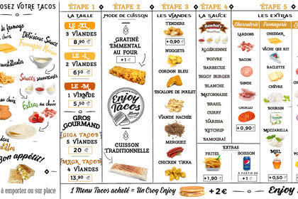 Création menu board Enjoy Tacos Narbonne