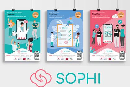 Affiches et illustrations pour l'application Sophi
