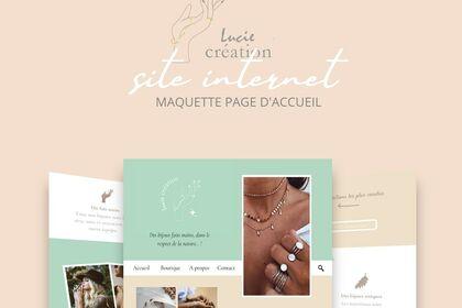 Maquette page d'acceuil Lucie création
