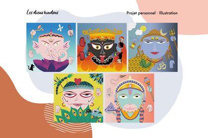 Les divinités hindous - Illustration