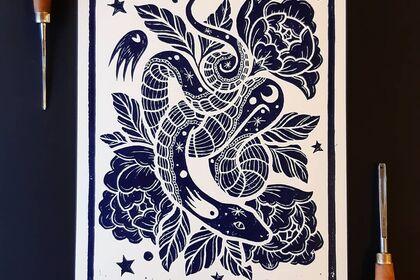 Linogravure, Série limitée, Serpent