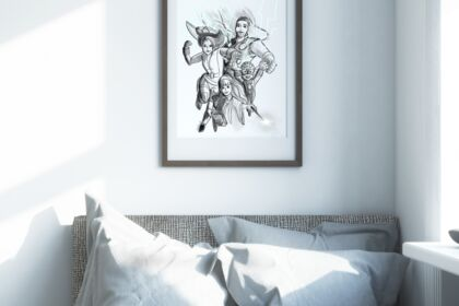Illustration portrait de famille heros