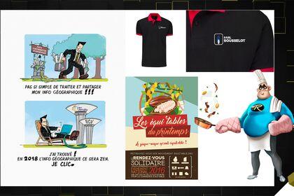 Publicités, flyers, logos, infographies