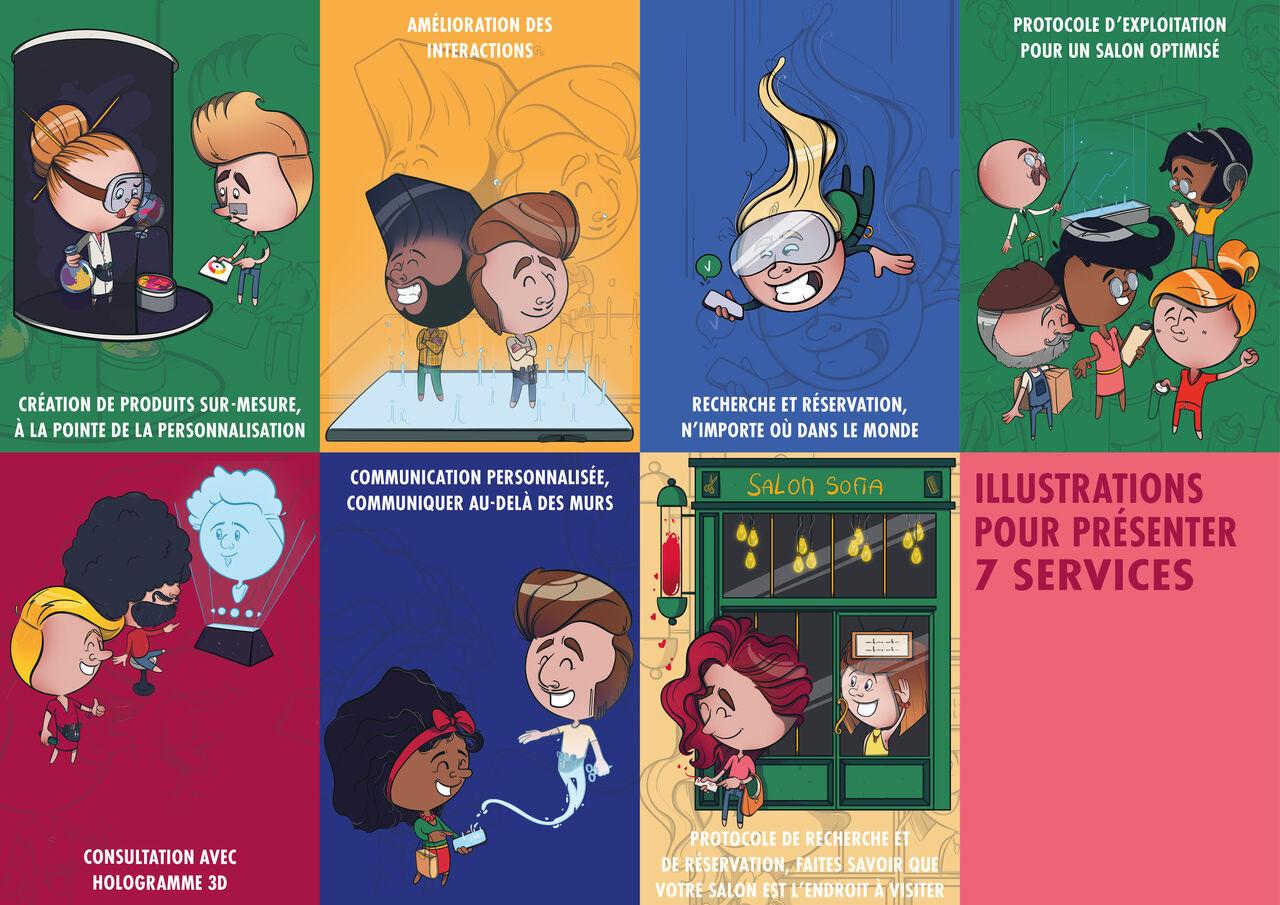 7 illustrations pour présenter des services