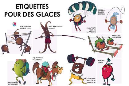 9 illustrations pour des étiquettes de glace