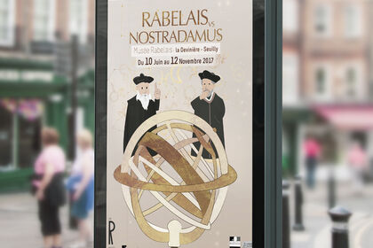 """Affiche de l'exposition """"Rabelais vs Nostradamus"""""""