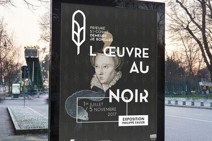 """Affiche de l'exposition """"L'Œuvre au Noir"""" de Phili"""