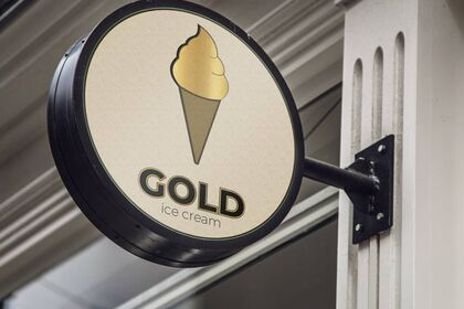 Logo Gold Ice Cream mockup