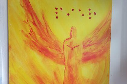 Peinture acrylique d'un ange