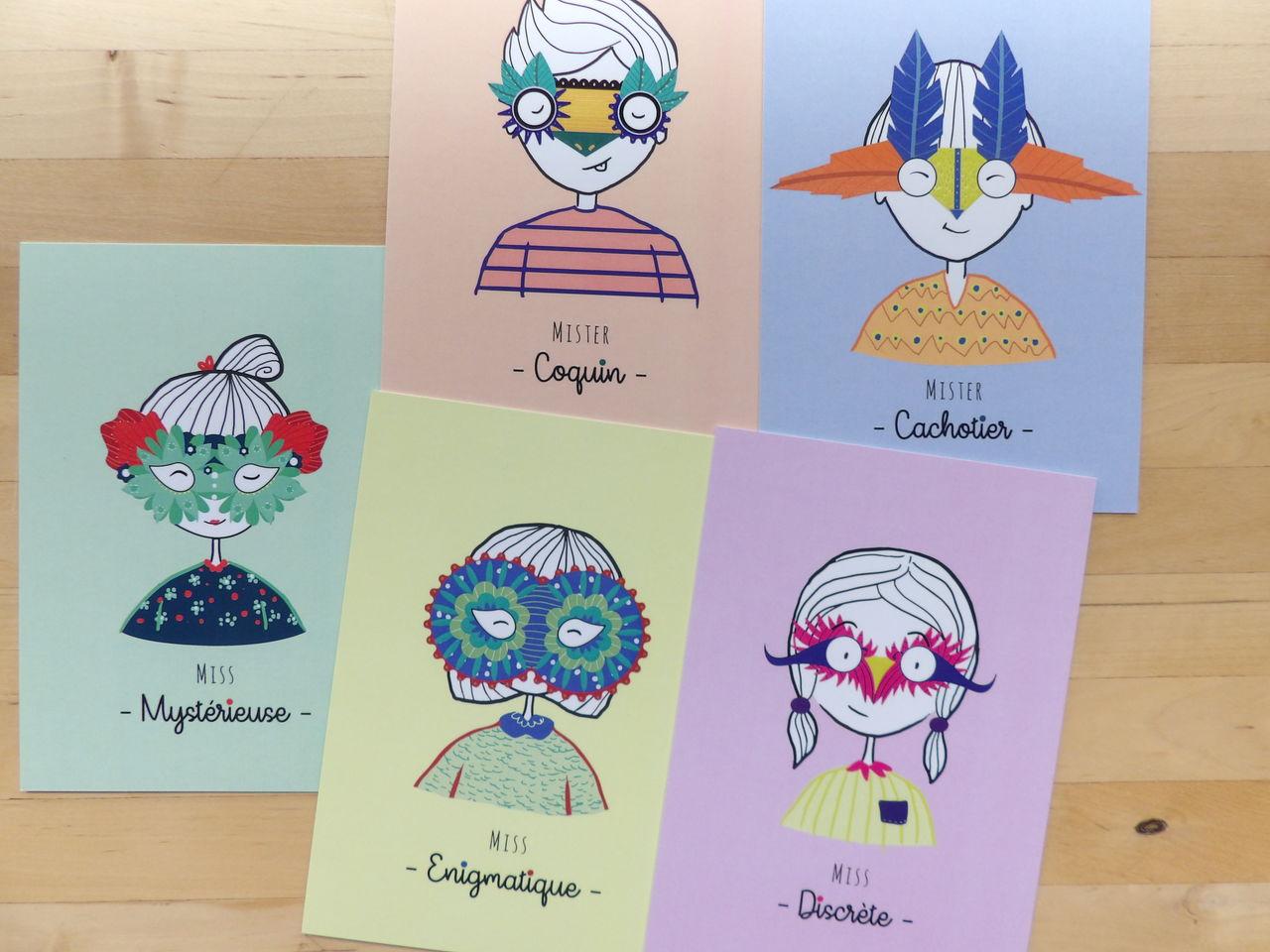 """Cartes postales """"Petits caractères"""""""